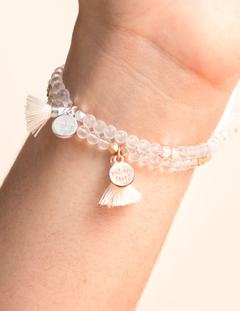 Matte Clear Quartz Gemstone Affirmation Bead Bracelet
