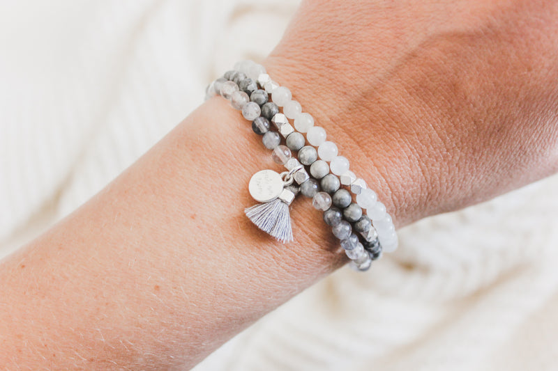 Gemstone Affirmation Beads- Surrender Set Silver
