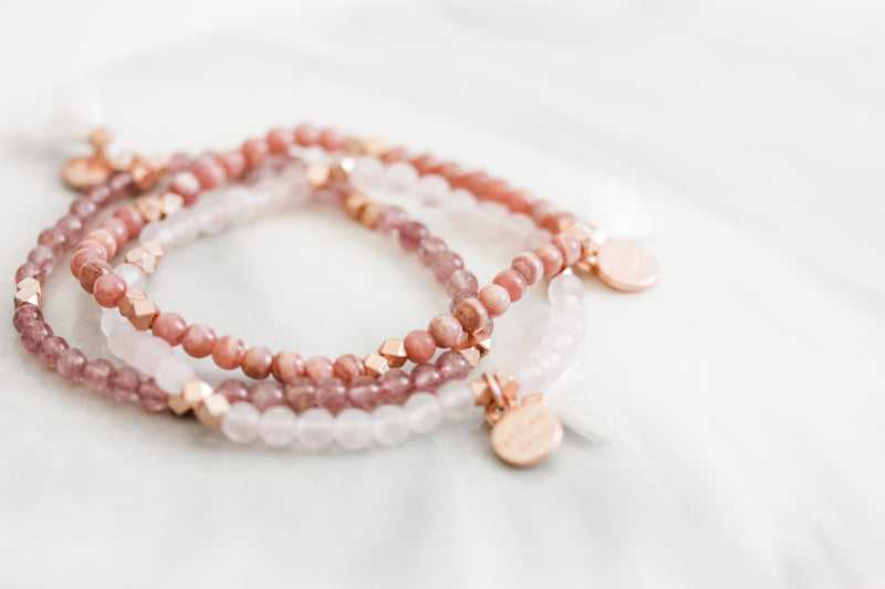 Gemstone Affirmation Beads- Adoration Set Rose Gold