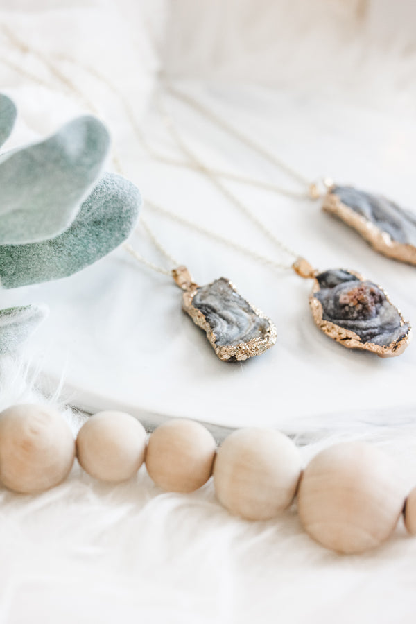 Chalcedony Druzy Long Gemstone Diffuser Necklace