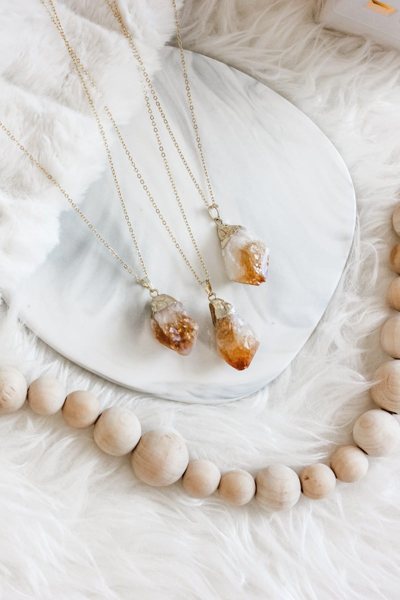 Citrine Long Gemstone Diffuser Necklace