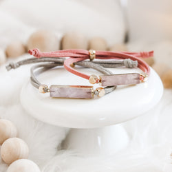Rose Quartz Gold Gemstone Slider Diffuser- with FREE wrap bracelet
