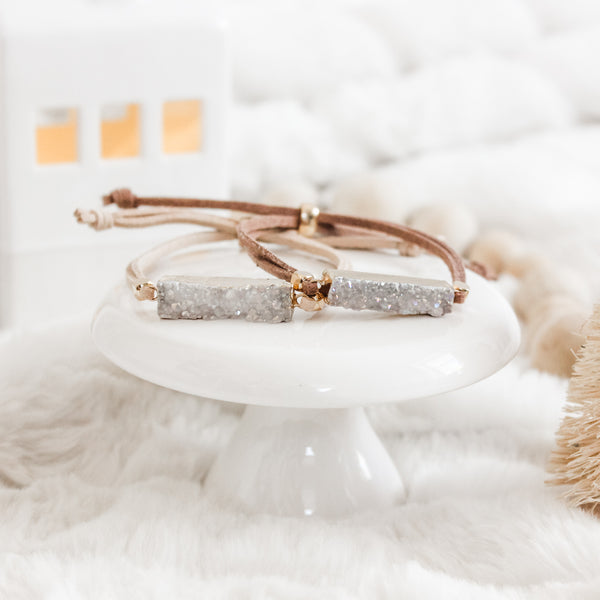 White Druzy Gold Gemstone Slider Diffuser