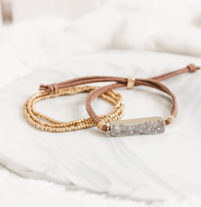 White Druzy Gold Gemstone Slider Diffuser- with FREE wrap bracelet