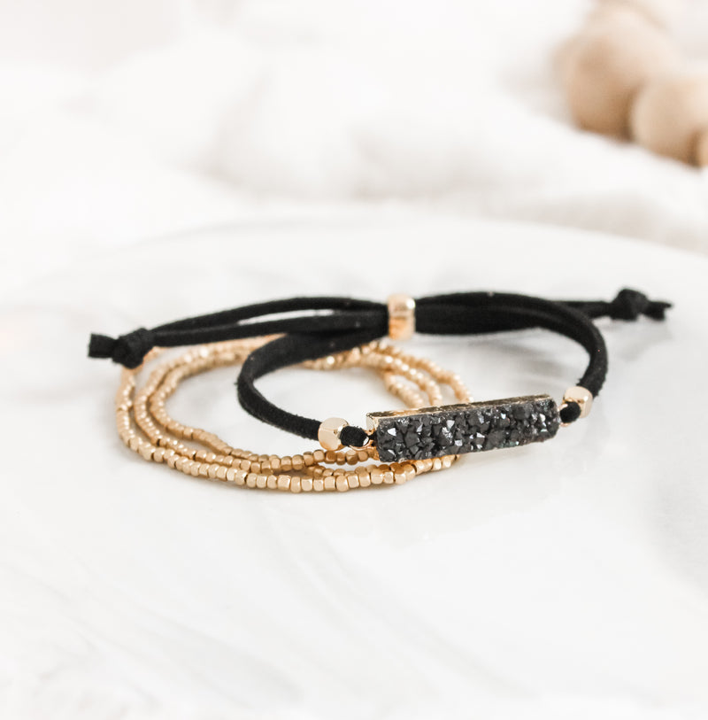 Black Druzy Gold Gemstone Slider Diffuser