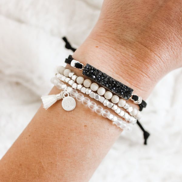 Black Druzy Silver Gemstone Slider Diffuser- with FREE wrap bracelet