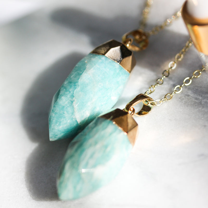Amazonite Long Gemstone Diffuser Necklace