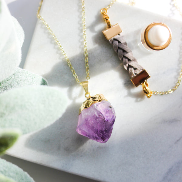 Amethyst Long Gemstone Diffuser Necklace