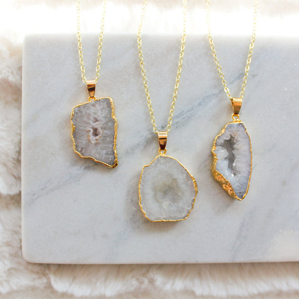 Agate Slice Long Gemstone Diffuser Necklace