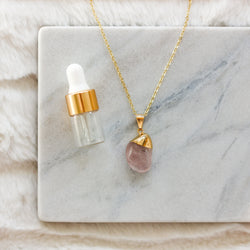 Tumbled Rose Quartz Gemstone Diffuser Necklace