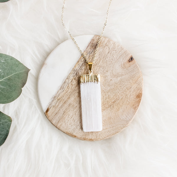 Selenite Long Gemstone Diffuser Necklace