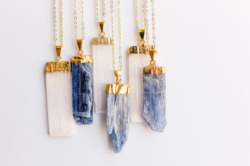 Kyanite Long Gemstone Diffuser Necklace