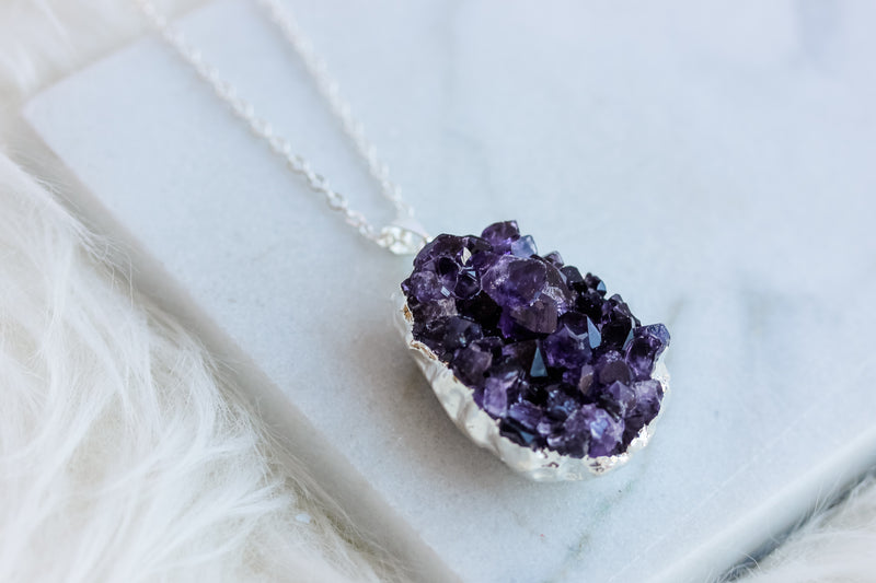 Amethyst Clusters Long Gemstone Diffuser Necklace