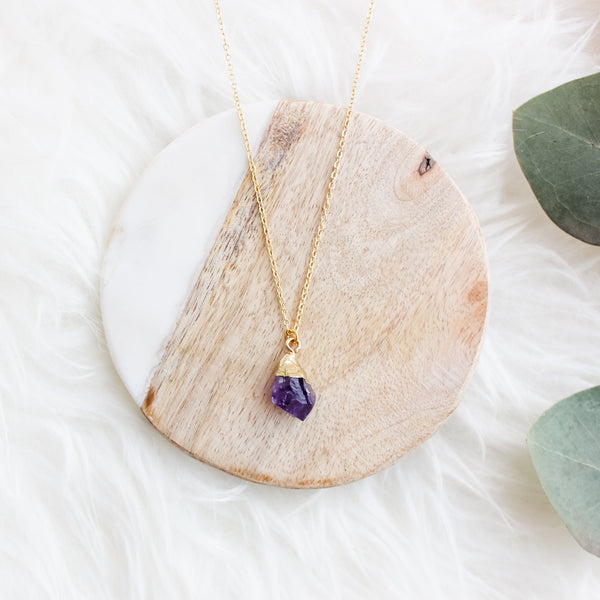 Amethyst chunk short Gemstone Diffuser Necklace