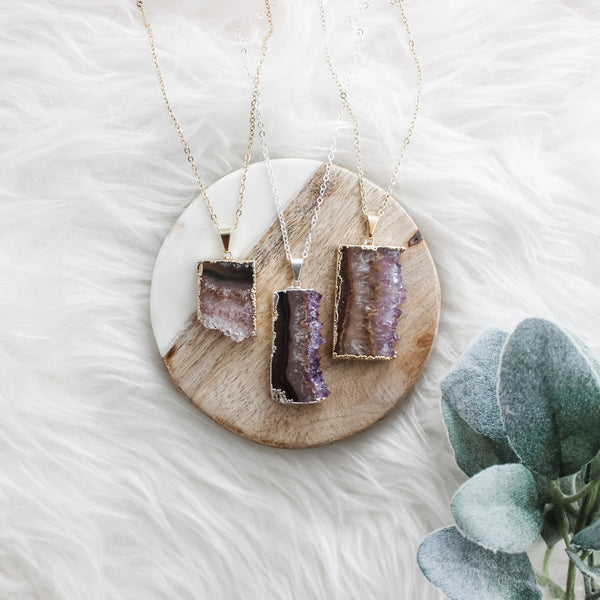 Amethyst Slice Mid length Gemstone Diffuser Necklace