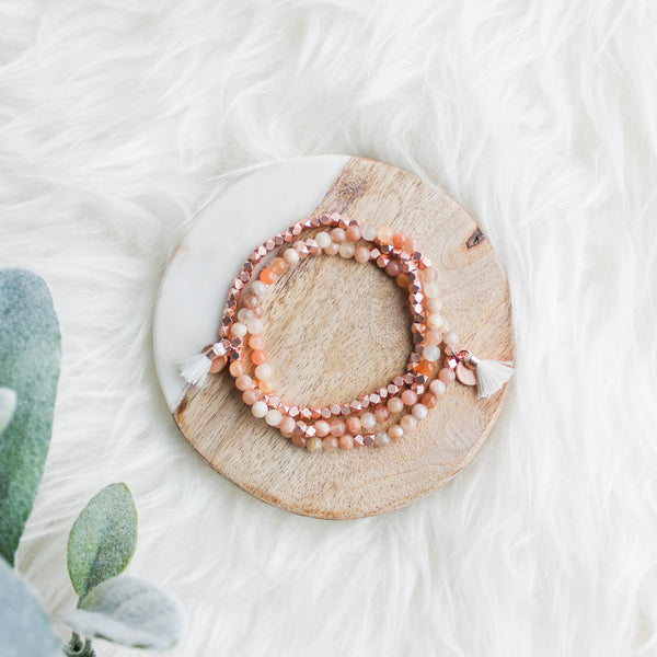 Radiate Gemstone Affirmation Beads Rose Gold