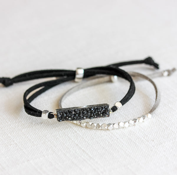 Black Druzy and Metallic Slider Set