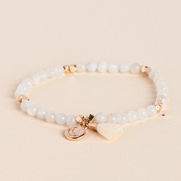 Moonstone Gemstone Affirmation Bead Bracelet