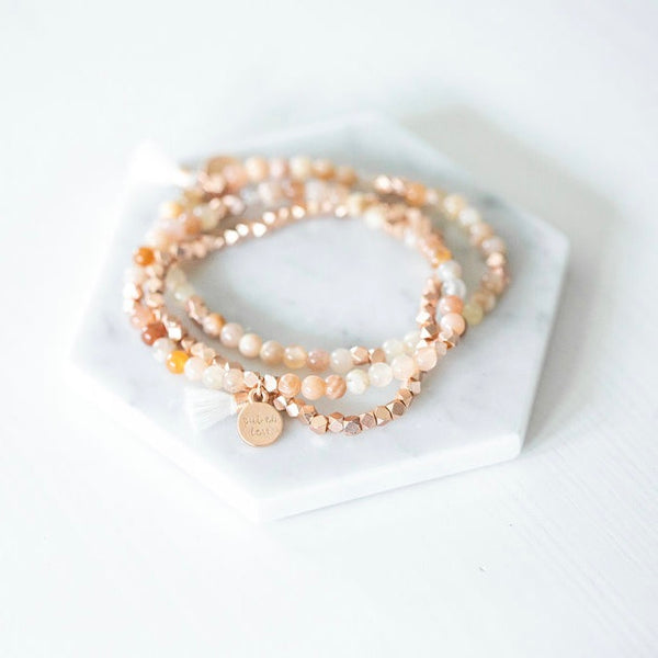 Radiate Set Gemstone Affirmation Beads- Sunstone