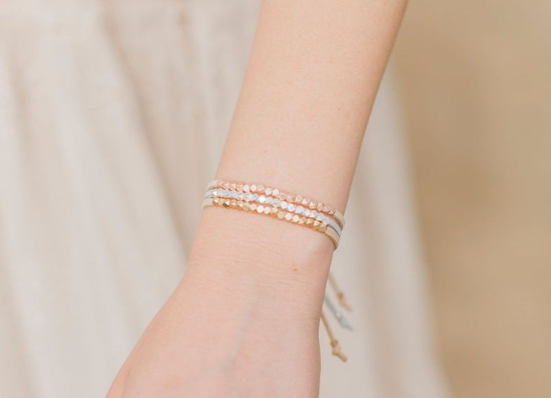 Sun + Sea + Sand Metallic Slider Diffuser Bracelet Set
