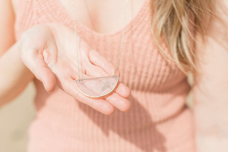 Clear Quartz Half Moon Gemstone Diffuser Necklace