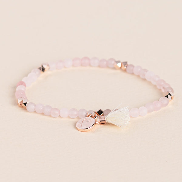 Matte Rose Quartz Gemstone Affirmation Bead Bracelet