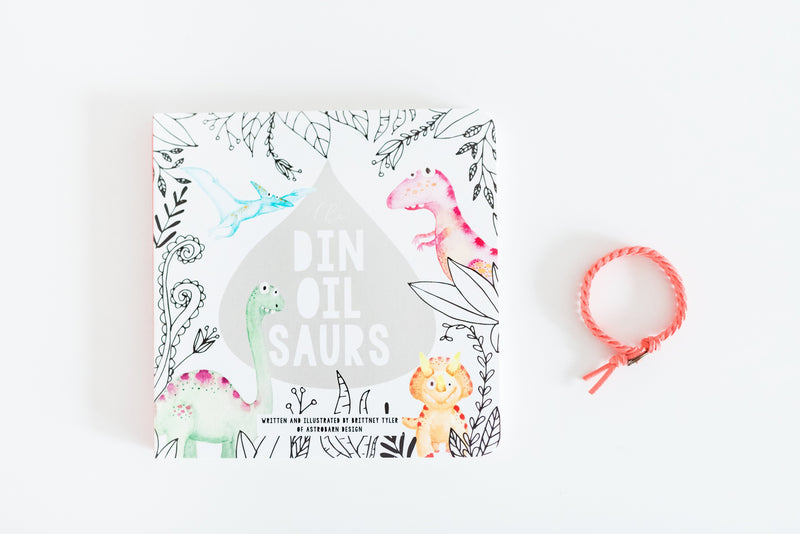 "Kids ""DinOilSaurs Book"" and Diffuser Bracelet Duo"