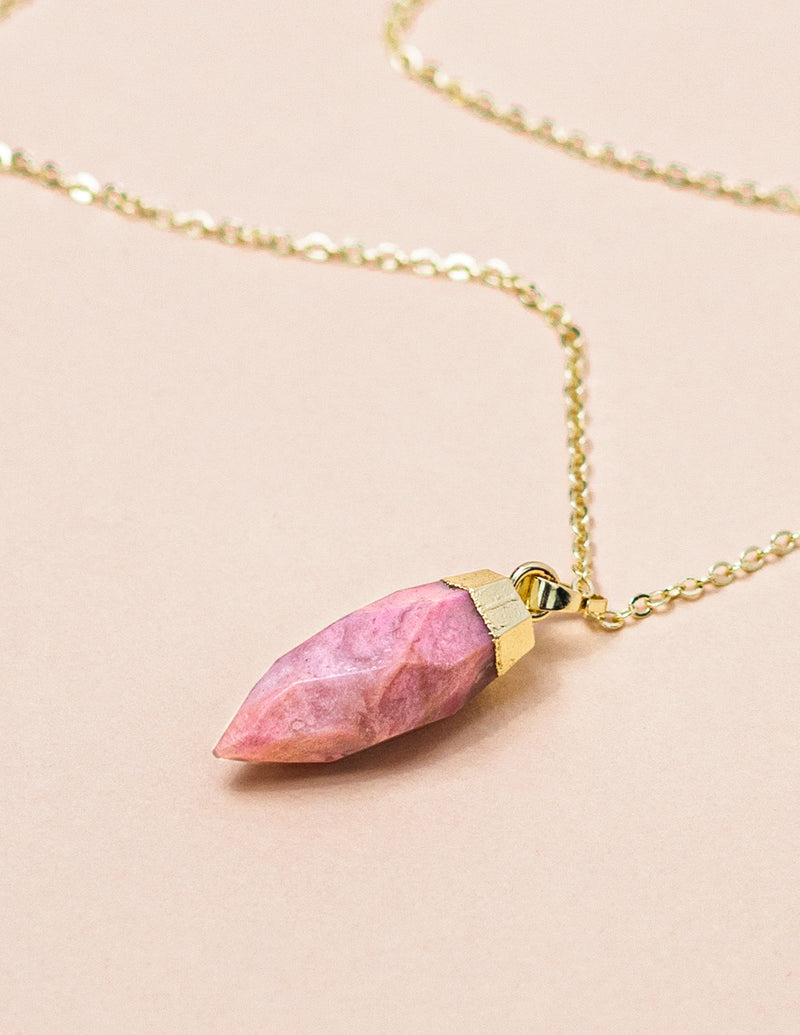 Rhodonite Point Mid Length Gemstone Diffuser Necklace