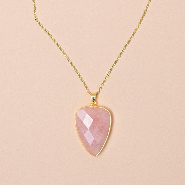 Rose Quartz Faceted Long Gemstone Diffuser Necklace