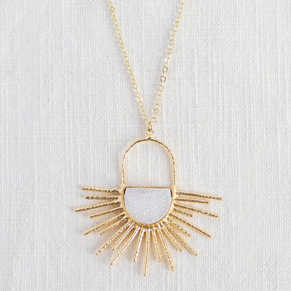 White Druzy Sun Burst Mid Length Gemstone Diffuser Necklace