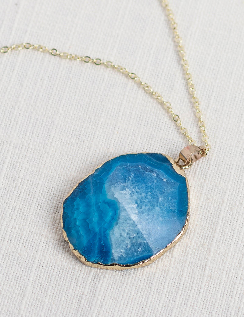 Blue Agate Long Gemstone Diffuser Necklace