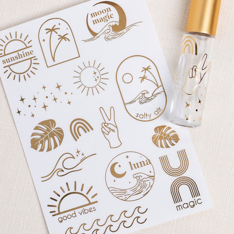 Sea + Sky gold foil labels