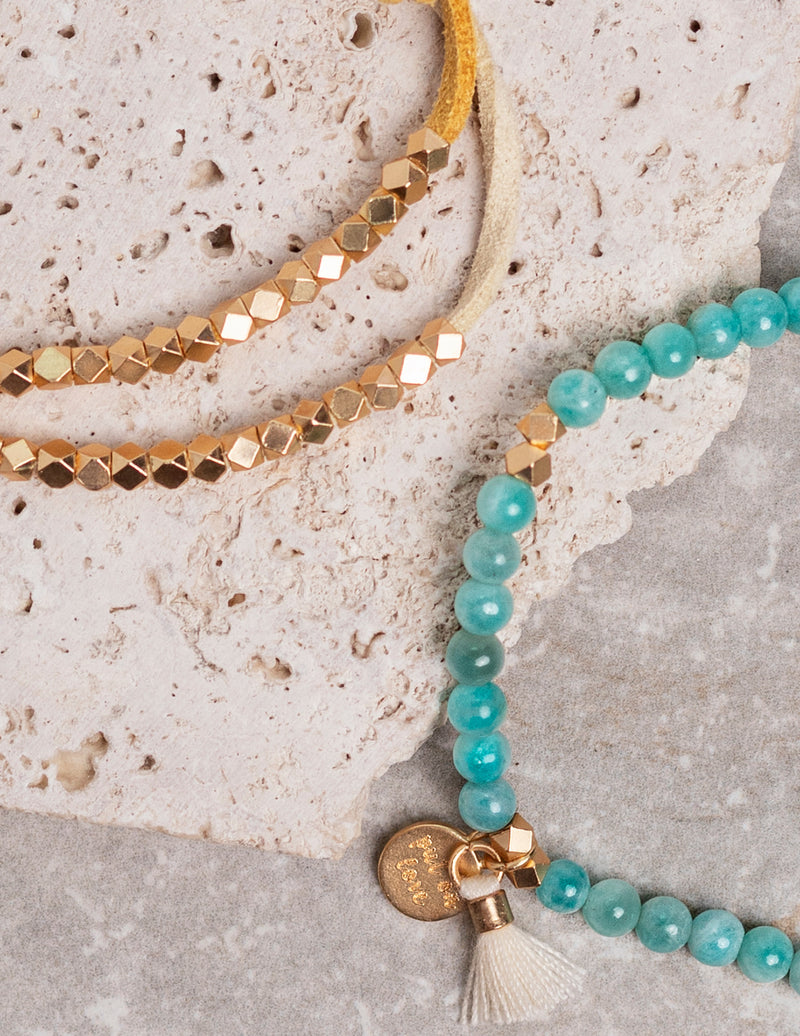Ocean Set- Amazonite Affirmation Beads + Metallic Slider Set