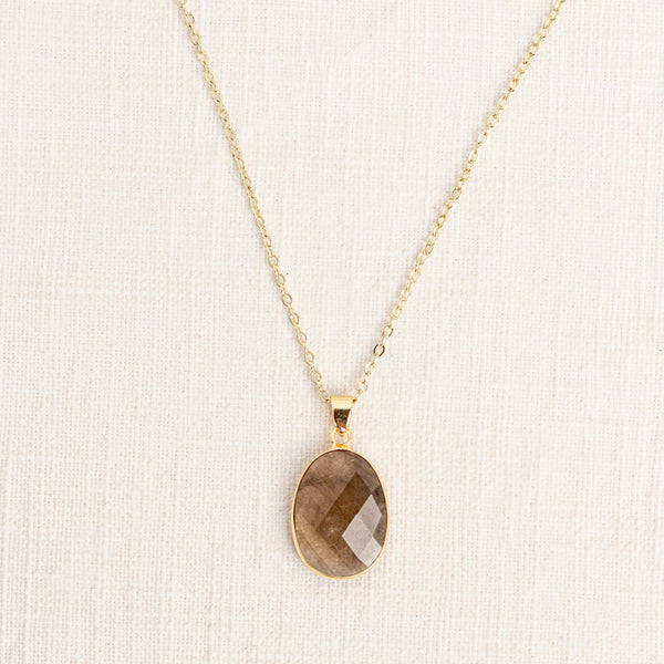 Smoky Quartz Mid Length Gemstone Diffuser Necklace