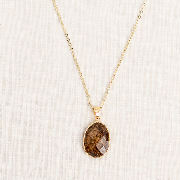Bronzite Mid Length Gemstone Diffuser Necklace