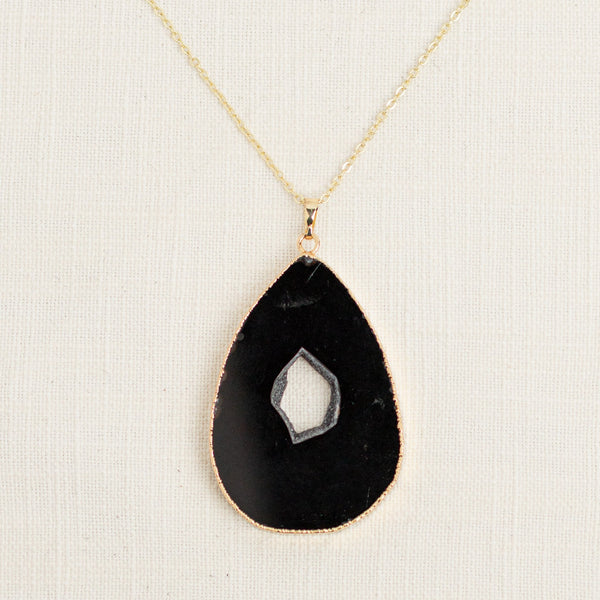 Black Agate Slice Long Gemstone Diffuser Necklace