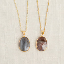 Lace Agate Mid Length Gemstone Diffuser Necklace