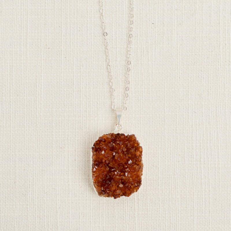 Citrine Druzy Long Gemstone Diffuser Necklace