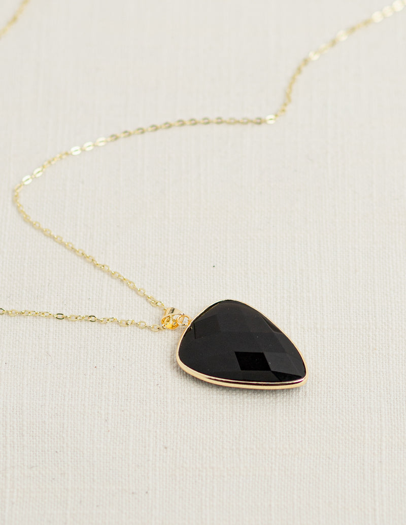 Black Agate Faceted Long Gemstone Diffuser Necklace