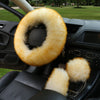 3pcs/set Winter Car Steering-wheel Cover 7 Colors Long Australian Wool Heated Fur Genuine Leather Steering Wheel Cover