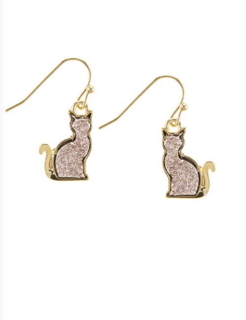 Cute Druzy Rose Gold Cat Earrings w/ Rose Gold