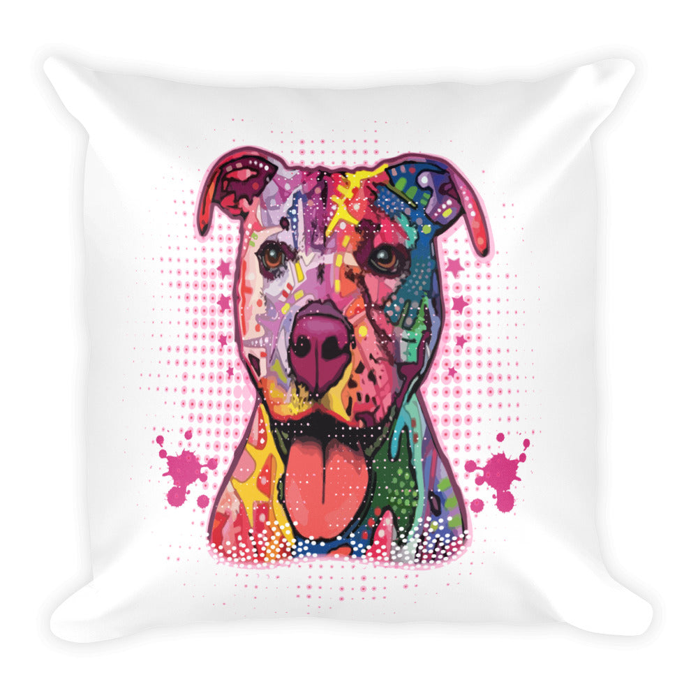 Pitbull Dog Art Square Pillow