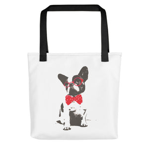 Dog with Red Bowtie and Glasses Tote Bag - Made in the USA