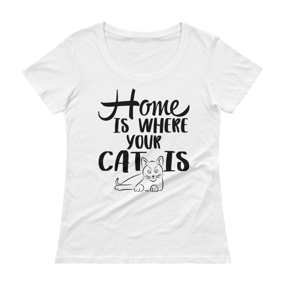 Home is Where Your Cat Is Ladies' Scoopneck T-Shirt