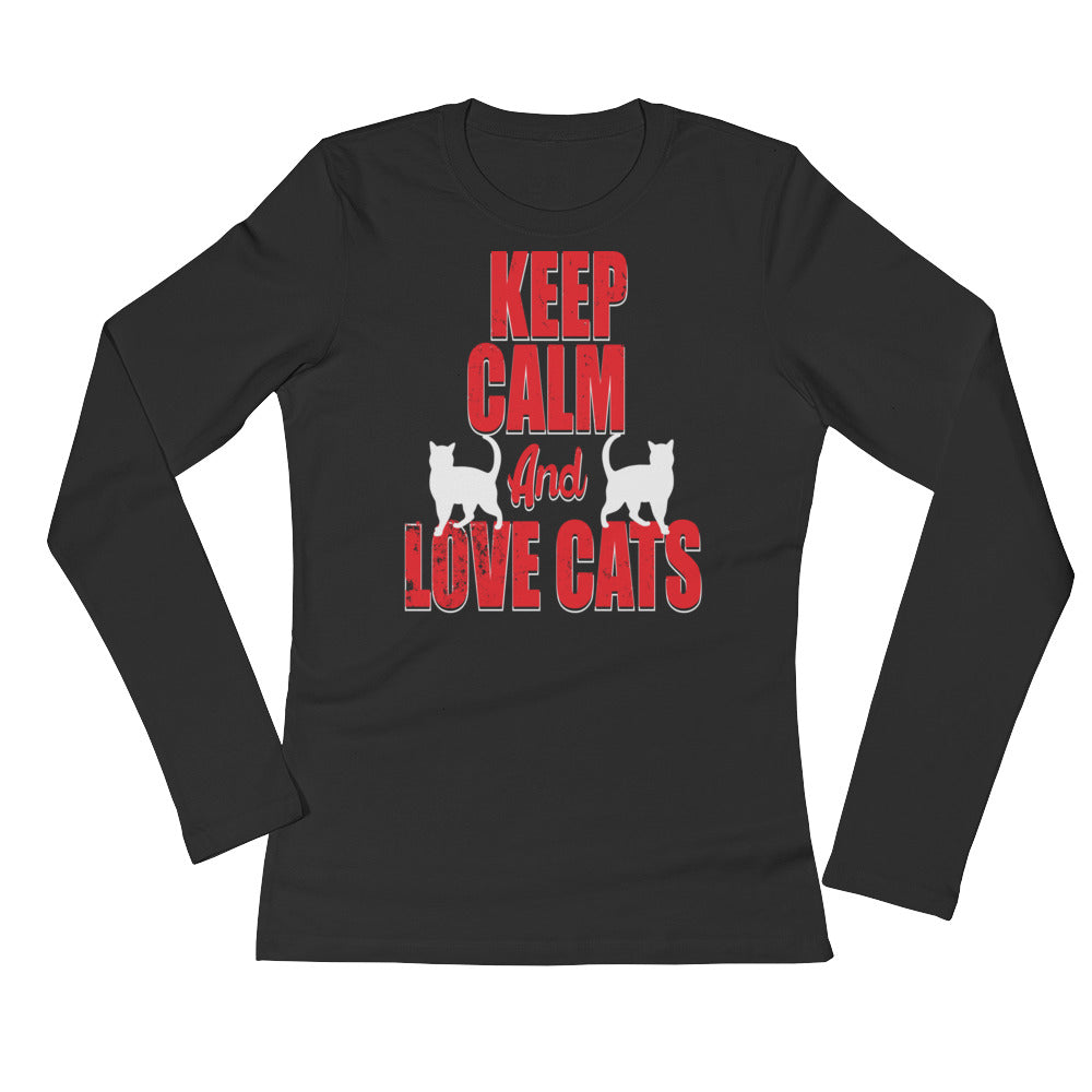 Keep Calm and Love Cats Ladies' Long Sleeve T-Shirt - Wild Pet Styles