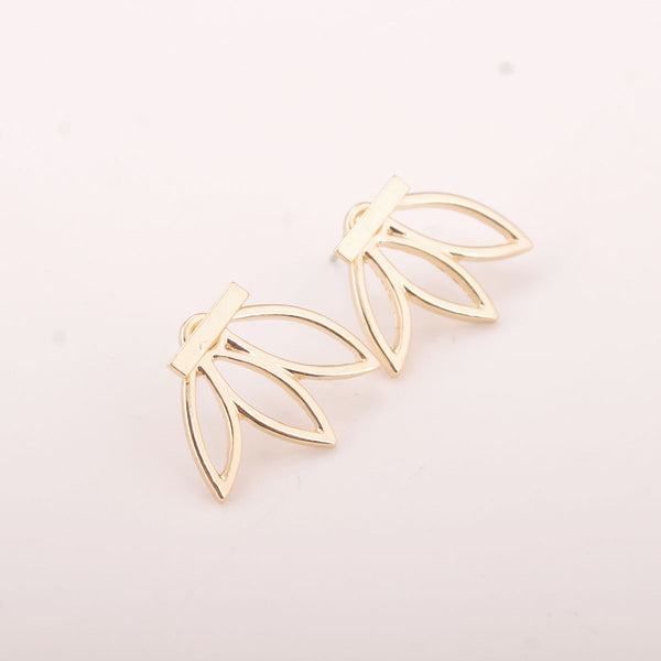 Hollow Out Leaf Flower Stud Earrings