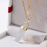 Vintage 2 Layer Color Natural Stone Pendants Choker Necklaces With Gold Color Moon Necklace