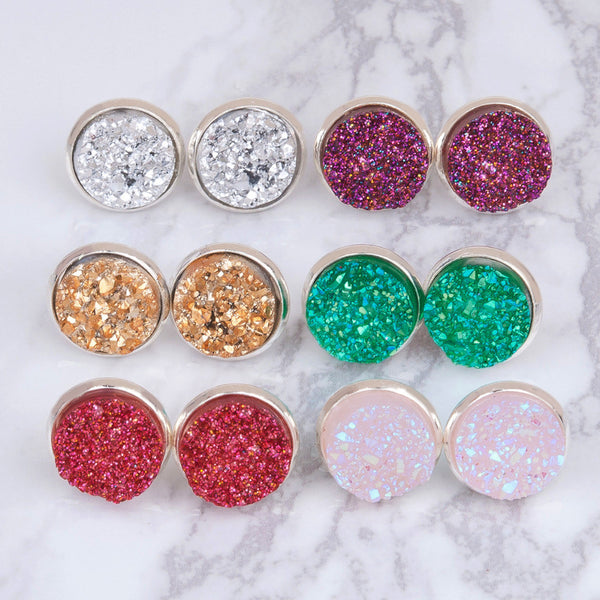 Druzy Round Earrings