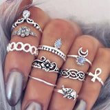 10pcs/Set Retro Silver Elephant Knuckle Rings