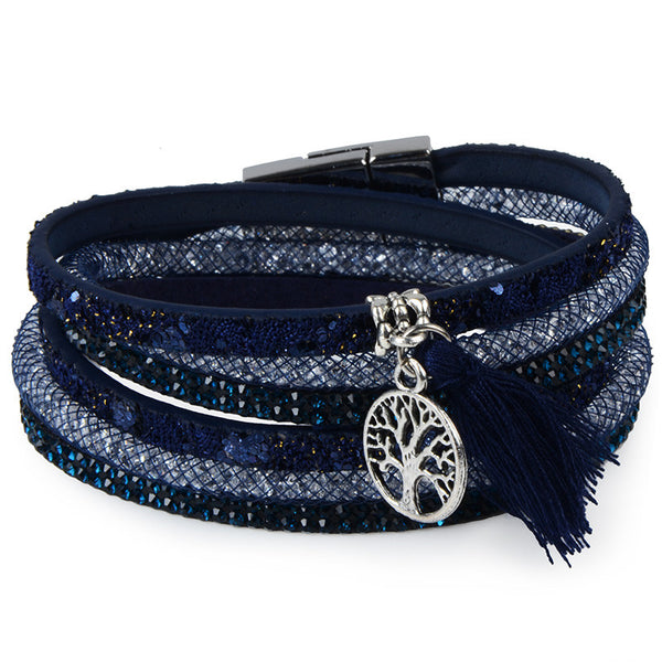 Multi layer leather Tassel bracelet with anchor charm